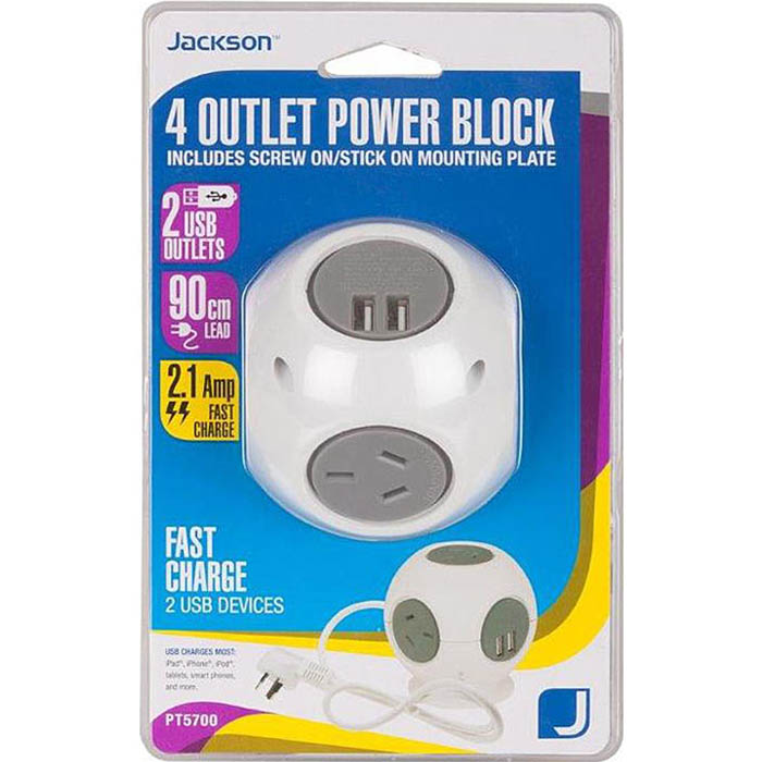 Image for JACKSON POWER BLOCK 4 OUTLET WITH USB OUTLETS from Office National Capalaba
