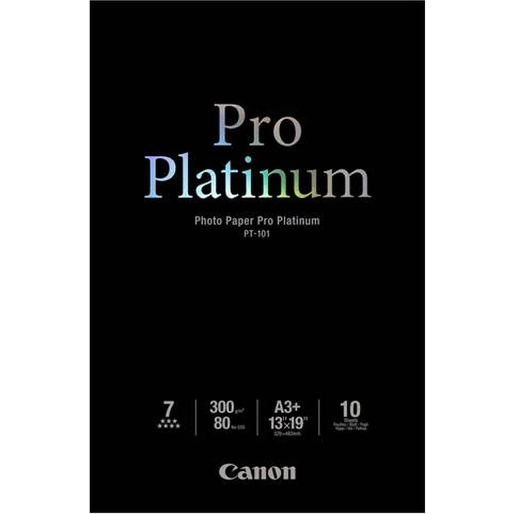 Image for CANON PT-101 PRO PLATINUM PHOTO PAPER 300GSM A3 WHITE PACK 10 from City Stationery Office National