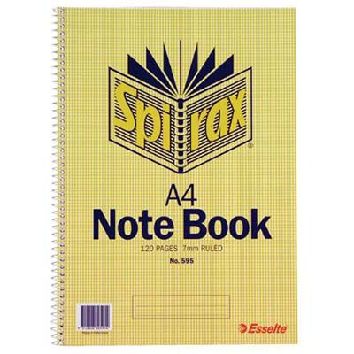 Image for SPIRAX 595 NOTEBOOK 7MM RULED SPIRAL BOUND SIDE OPEN 120 PAGE A4 from Office National Perth CBD
