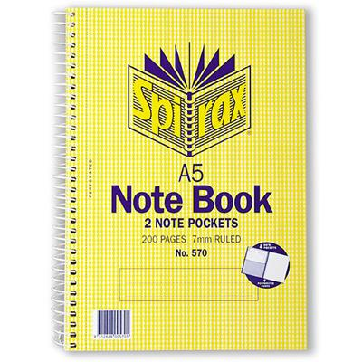 Image for SPIRAX 570 NOTEBOOK 7MM RULED SPIRAL BOUND SIDE OPEN 2 POCKETS 200 PAGE A5 from Office National Perth CBD