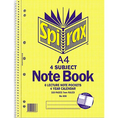 Image for SPIRAX 606 4-SUBJECT NOTEBOOK SPIRAL BOUND 320 PAGE A4 from Office National Perth CBD