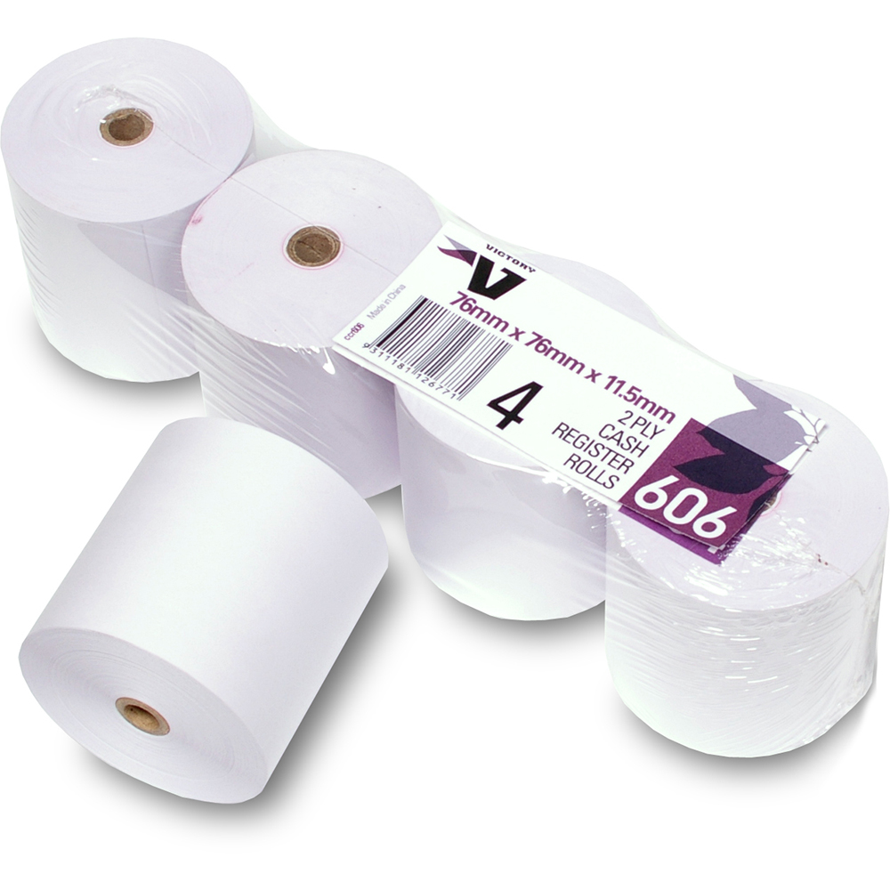 Image for VICTORY 606 CASH REGISTER ROLL 2 PLY 76 X 76 X 11.5MM PACK 4 from OFFICE NATIONAL CANNING VALE, JOONDALUP & OFFICE TOOLS OPD