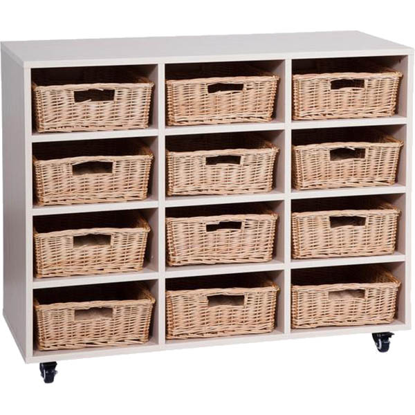 Image for ELIZABETH RICHARDS MOBILE STORAGE UNIT WITH WICKER BASKETS 12 BAY 1180 X 450 X 860MM from Axsel Office National
