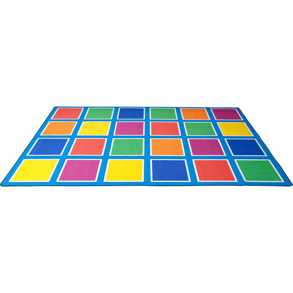 Image for ELIZABETH RICHARDS COLOUR SQUARES PLACEMENT RUG 24 SQUARES 3M X 2M LIGHT BLUE from Emerald Office Supplies