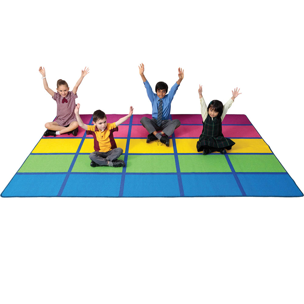 Image for ELIZABETH RICHARDS RAINBOW BLOCKS RUG 3 X 2M DARK BLUE from Emerald Office Supplies