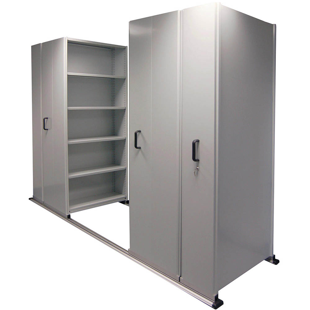 Image for APC EZISLIDE AISLE SAVER 6 BAY 5 SHELVES 3500 X 2175 X 1200 X 400MM CYBER GREY from OFFICE NATIONAL CANNING VALE, JOONDALUP & OFFICE TOOLS OPD