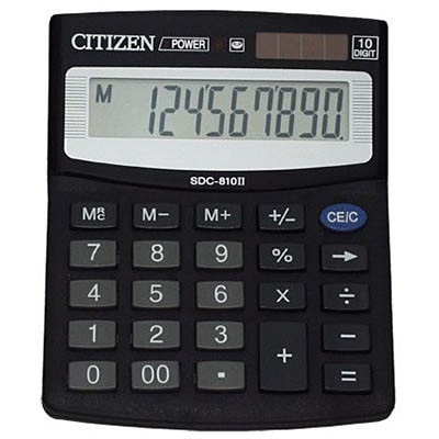 Image for CITIZEN SDC-810DII DESKTOP CALCULATOR 10 DIGIT BLACK from Office National Capalaba