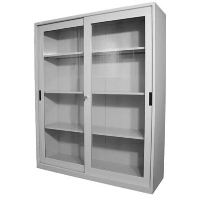 Image for STEELCO GLASS SLIDING DOOR CUPBOARD 3 SHELVES 1830 X 1500 X 465MM SILVER GREY from Office National Hobart