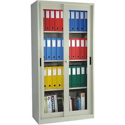 Image for STEELCO GLASS SLIDING DOOR CUPBOARD 3 SHELVES 1830 X 914 X 465MM WHITE SATIN from Axsel Office National