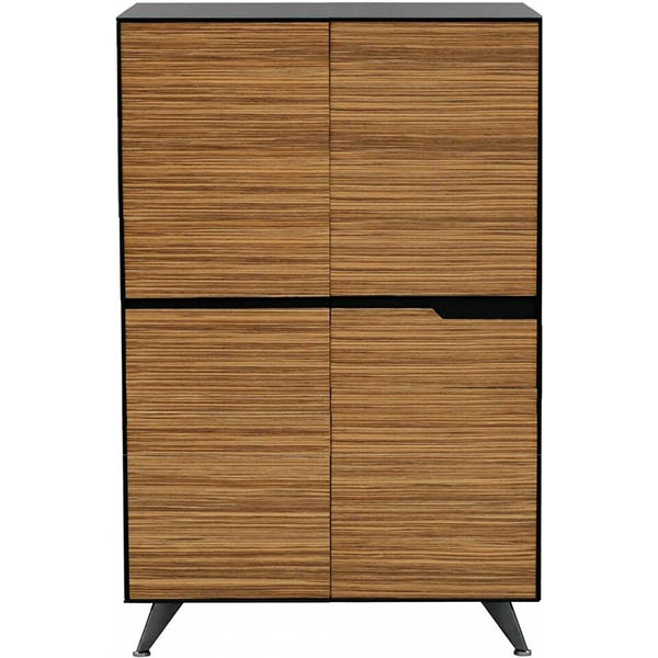 Image for NOVARA CABINET 4 DOOR 1224 X 425 X 1750MM ZEBRANO TIMBER VENEER from Axsel Office National