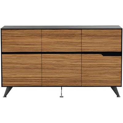 Image for NOVARA CREDENZA 6 DOOR 1825 X 425 X 1250MM ZEBRANO TIMBER VENEER from Axsel Office National