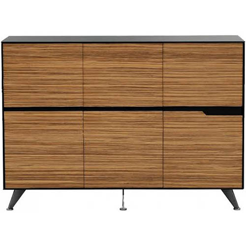 Image for NOVARA CABINET 6 DOOR 1825 X 425 X 1750MM ZEBRANO TIMBER VENEER from Axsel Office National