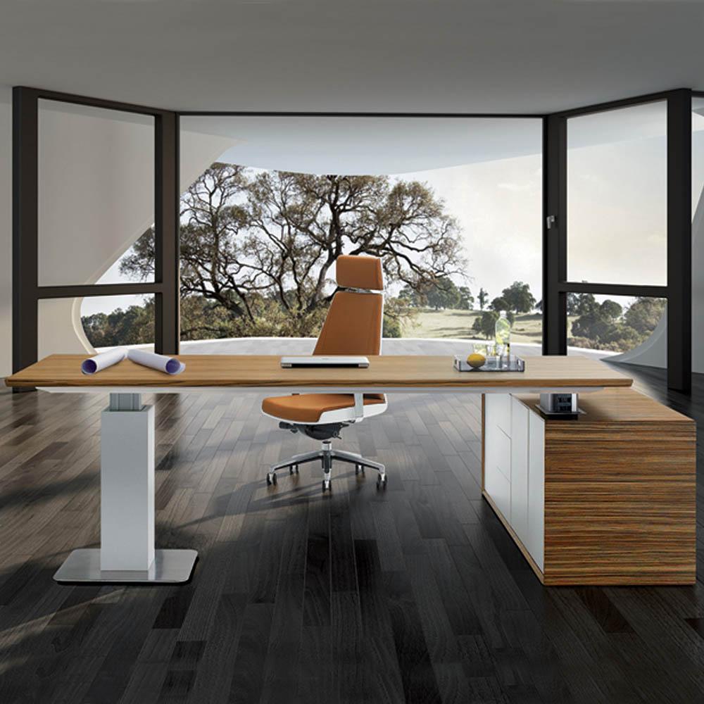 Image for EVOLUTION CEO HEIGHT ADJUSTABLE DESK 2280 X 2100MM ZEBRANO VENEER from Office National Hobart