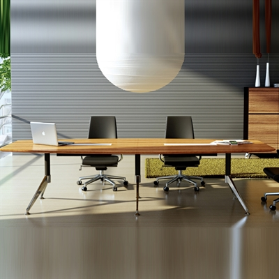 Image for NOVARA BOARDROOM TABLE ZEBRANO TIMBER VENEER WITH CABLE BOX 3000 X 1200 X 750MM from City Stationery Office National