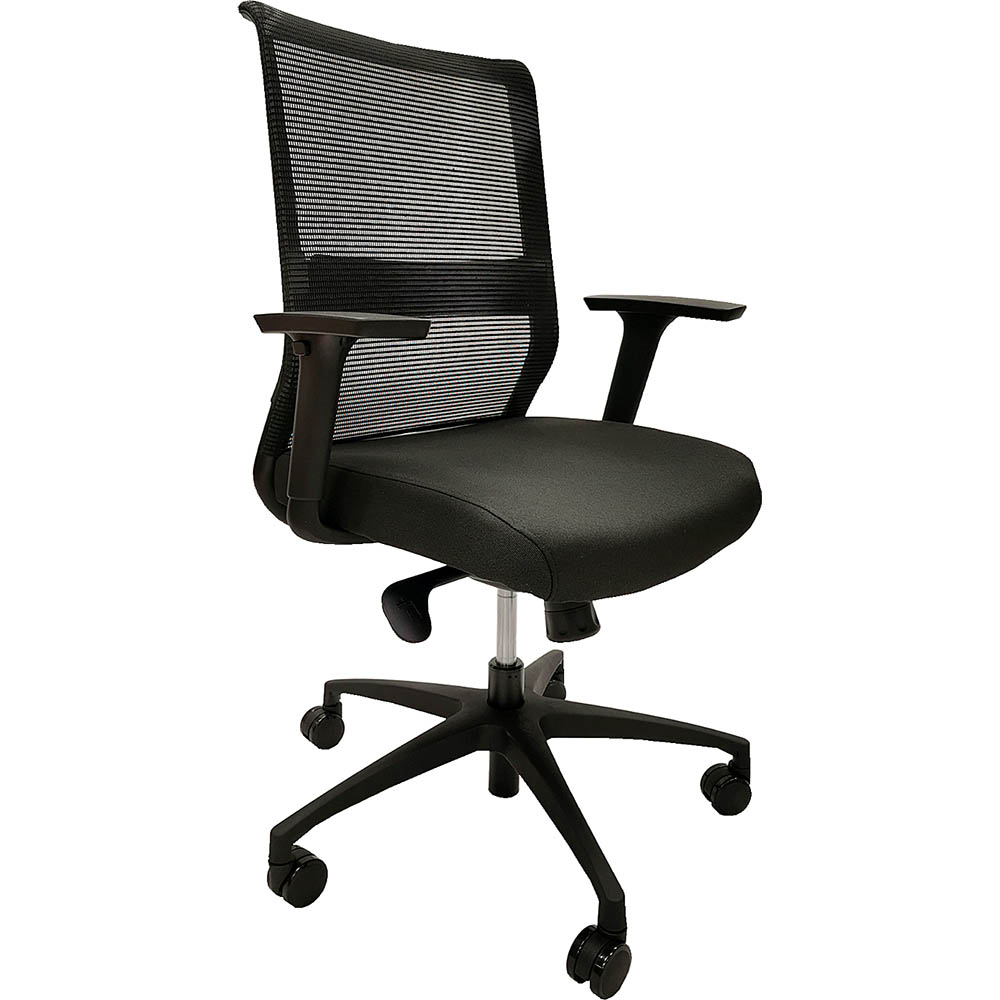 Image for ONYX II TASK CHAIR MEDIUM MESH BACK WITH ARMS BLACK from Pirie Office National