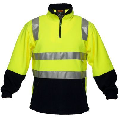 Image for PRIME MOVER HV215 HI VIS POLAR FLEECE JUMPER WITH TAPE 43922 ZIP 2 TONE from Mackay Business Machines (MBM)