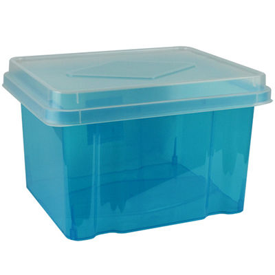 Image for ITALPLAST FILE STORAGE BOX 32 LITRE TINTED BLUE/CLEAR LID from Ezi Office Supplies Gold Coast