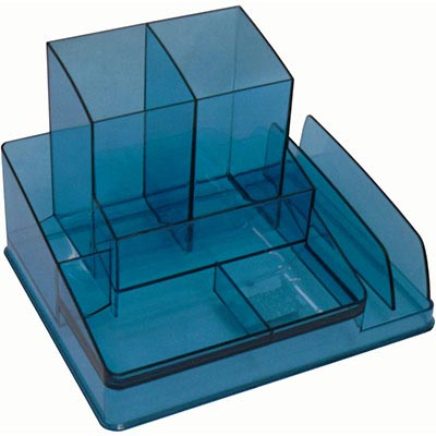 Image for ITALPLAST DESK ORGANISER TINTED BLUE from Mackay Business Machines (MBM)