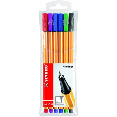 Image for STABILO 88 POINT FINELINER PEN 0.4MM ASSORTED PACK 6 from Paul John Office National