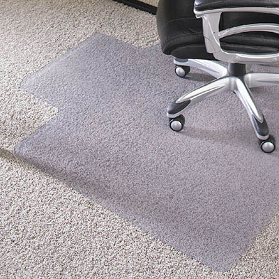 Image for JASTEK DELUXE CHAIRMAT PVC KEYHOLE PLUSH PILE CARPET 1140 X 1350MM from City Stationery Office National