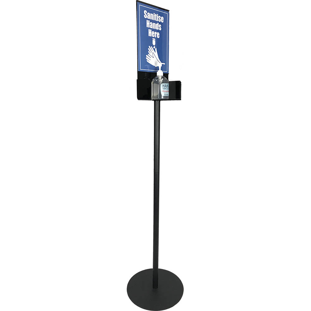 Image for DEFLECTO HAND SANITISER DISPLAY STAND SINGLE A4 1.5M BLACK/CLEAR from Copylink Office National