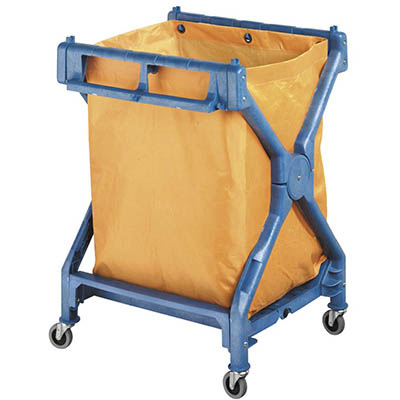 Image for OATES JANITOR SCISSOR TROLLEY WITH BAG YELLOW/BLUE from Office National Limestone Coast