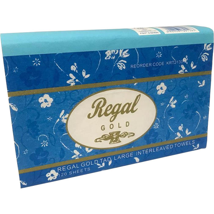 Image for REGAL GOLD TAD INTERLEAVED HAND TOWEL 305 X 210MM 120 SHEET from City Stationery Office National