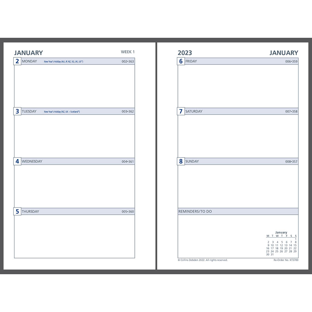 Image for DEBDEN 2021 DAYPLANNER PERSONAL EDITION REFILL WEEK TO VIEW from Mackay Business Machines (MBM)