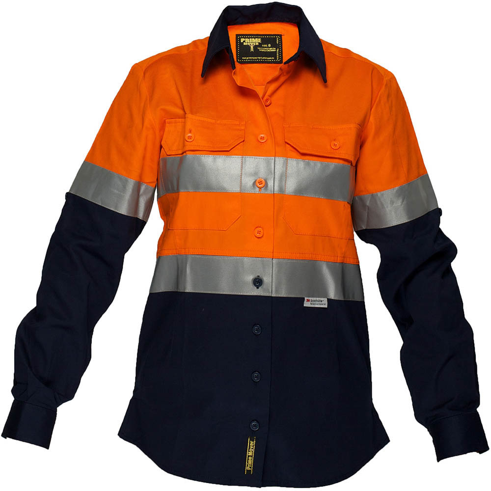 Image for PRIME MOVER ML808 LADIES COTTON DRILL LIGHTWEIGHT SHIRT WITH TAPE 2 TONE from SBA Office National