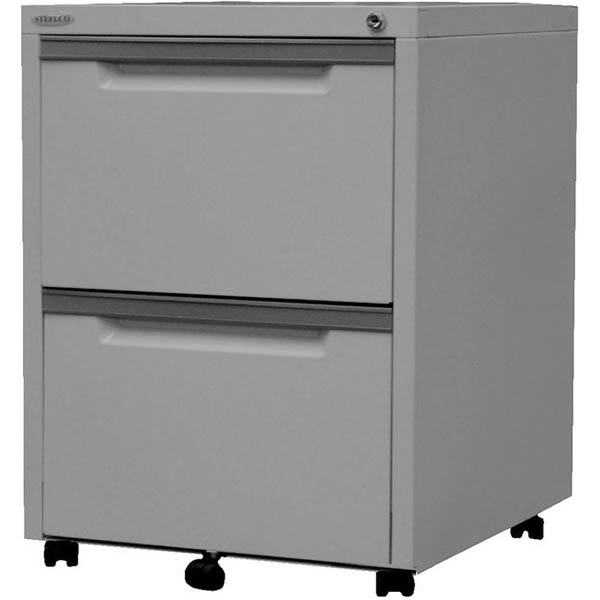 Image for STEELCO CLASSIC MOBILE PEDESTAL 2 FILE 630 X 470 X 515MM SILVER GREY from OFFICE NATIONAL CANNING VALE, JOONDALUP & OFFICE TOOLS OPD