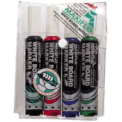 Image for PENTEL MAXIFLO WHITEBOARD MARKER CHISEL 7MM ASSORTED WALLET 4 from Aztec Office National Melbourne