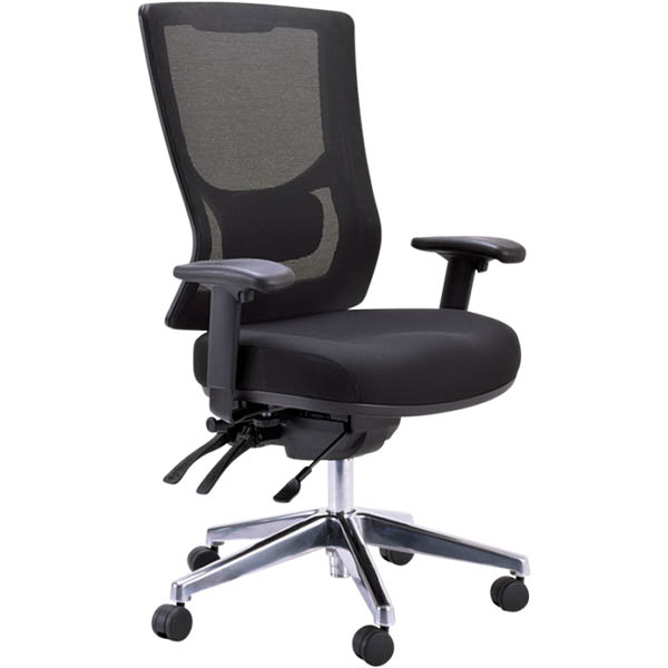 Image for BURO METRO II 24/7 TASK CHAIR HIGH MESH BACK 3-LEVER POLISHED ALUMINIUM BASE ARMS BLACK from Coleman's Office National