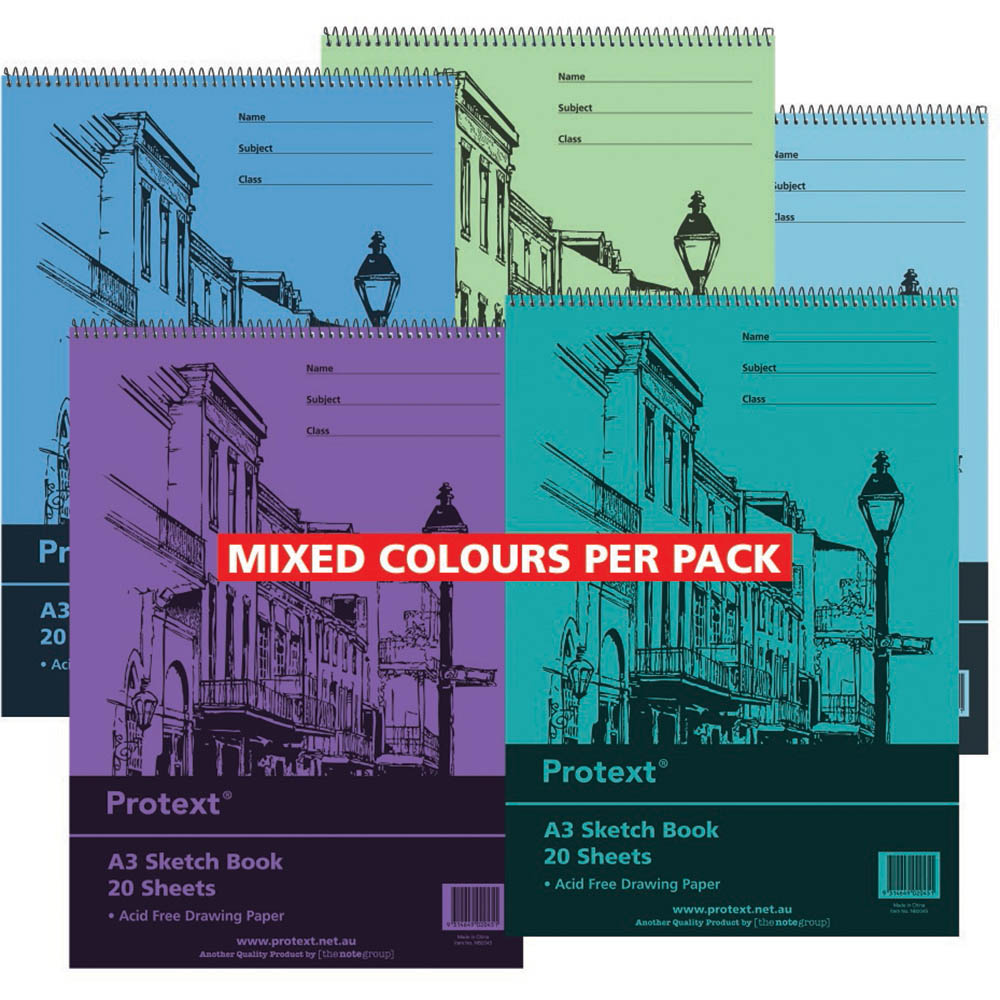 Image for PROTEXT SKETCH BOOK PP 20 SHEET 100GSM A3 ASSORTED from Wetherill Park / Smithfield Office National