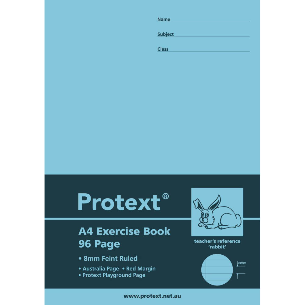 Image for PROTEXT EXERCISE BOOK RULED 8MM 70GSM 96 PAGE A4 RABBIT ASSORTED from Our Town & Country Office National