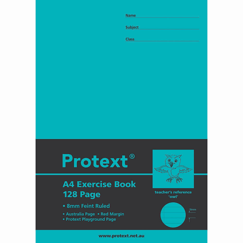 Image for PROTEXT EXERCISE BOOK RULED 8MM 70GSM 128 PAGE A4 OWL ASSORTED from Our Town & Country Office National