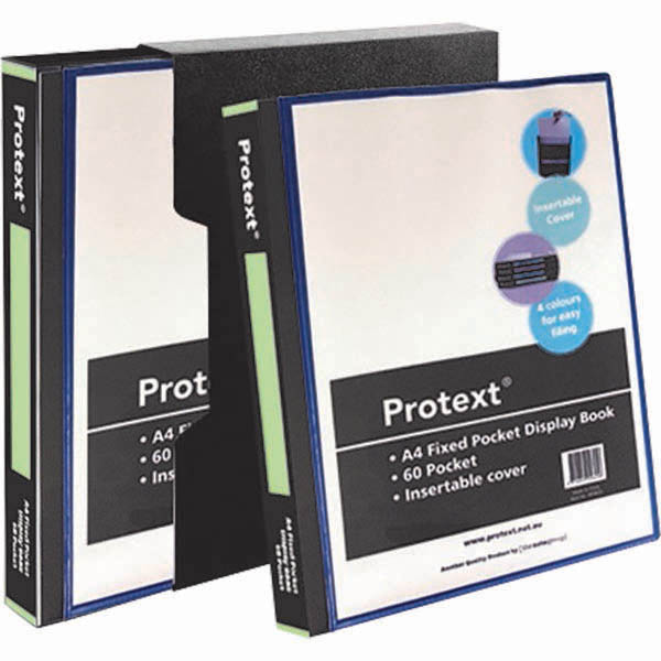 Image for PROTEXT DISPLAY BOOK NON-REFILLABLE INSERT COVER 60 POCKET A4 BLACK from Office National Barossa