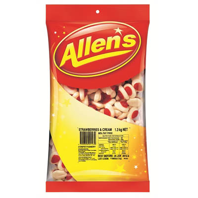 Image for ALLENS STRAWBERRY AND CREAM 1.3KG BAG from Office National Capalaba