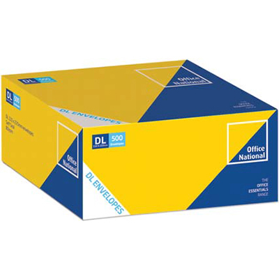 Image for OFFICE NATIONAL DL ENVELOPES WALLET PLAINFACE SELF SEAL 80GSM 110 X 220MM WHITE BOX 500 from Axsel Office National