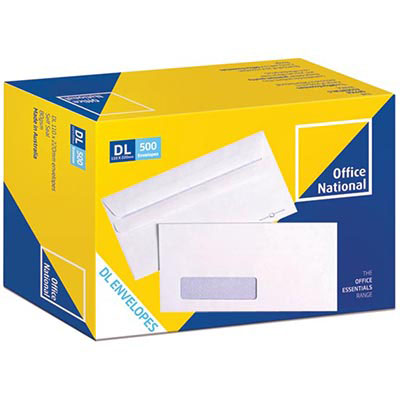 Image for OFFICE NATIONAL DL ENVELOPES SECRETIVE WALLET WINDOWFACE SELF SEAL 80GSM 110 X 220MM WHITE BOX 500 from Mackay Business Machines (MBM)