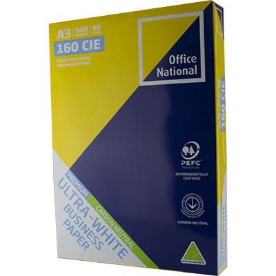 Image for OFFICE NATIONAL A3 ULTRA WHITE CARBON NEUTRAL COPY PAPER 80GSM WHITE PACK 500 SHEETS from City Stationery Office National