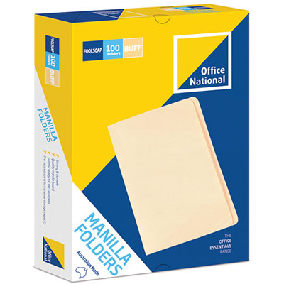 Image for OFFICE NATIONAL MANILLA FOLDERS FOOLSCAP BUFF BOX 100 from Axsel Office National