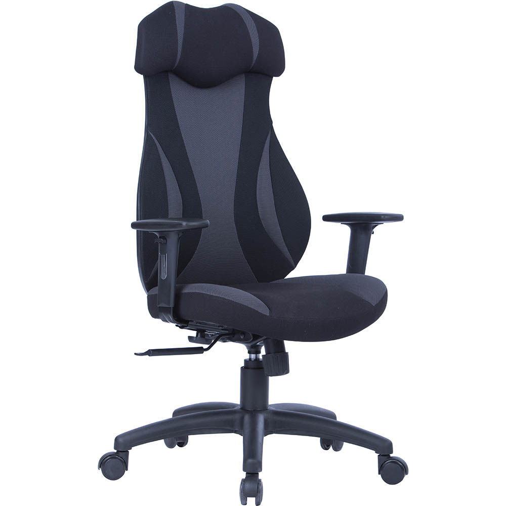 Image for MONZA GAMING CHAIR HIGH BACK ARMS GREY/BLACK from OFFICE NATIONAL CANNING VALE, JOONDALUP & OFFICE TOOLS OPD