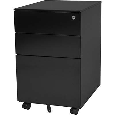 Image for STEELCO TRIMLINE MOBILE PEDESTAL 2 DRAWER 1 FILE 615 X 390 X 500MM BLACK SATIN from OFFICE NATIONAL CANNING VALE, JOONDALUP & OFFICE TOOLS OPD