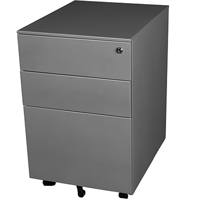 Image for STEELCO TRIMLINE MOBILE PEDESTAL 2 DRAWER 1 FILE 615 X 390 X 500MM SATIN SILVER from OFFICE NATIONAL CANNING VALE, JOONDALUP & OFFICE TOOLS OPD