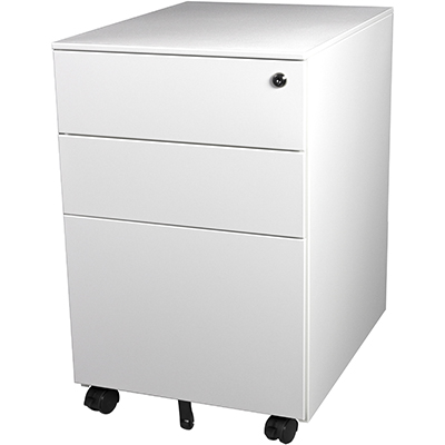 Image for STEELCO TRIMLINE MOBILE PEDESTAL 2 DRAWER 1 FILE 615 X 390 X 500MM WHITE SATIN from OFFICE NATIONAL CANNING VALE, JOONDALUP & OFFICE TOOLS OPD