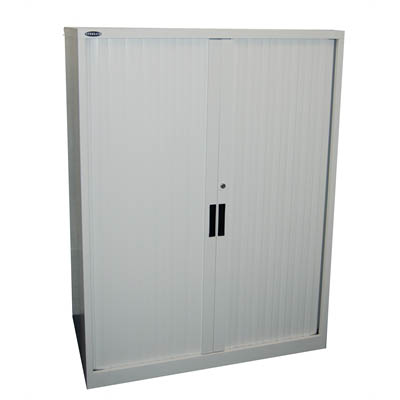 Image for STEELCO TAMBOUR DOOR CABINET 2 SHELVES 1015 X 1200 X 463MM WHITE SATIN from Pirie Office National