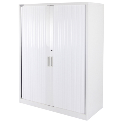 Image for STEELCO TAMBOUR DOOR CABINET 3 SHELVES 1200 X 900 X 463MM WHITE SATIN from Ezi Office National Tweed