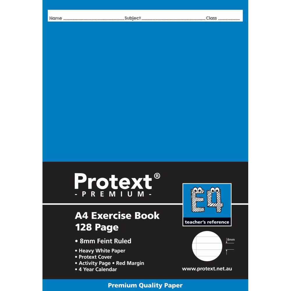 Image for PROTEXT E4 PREMIUM EXERCISE BOOK RULED 8MM 70GSM 128 PAGE A4 ASSORTED from OFFICE NATIONAL CANNING VALE, JOONDALUP & OFFICE TOOLS OPD