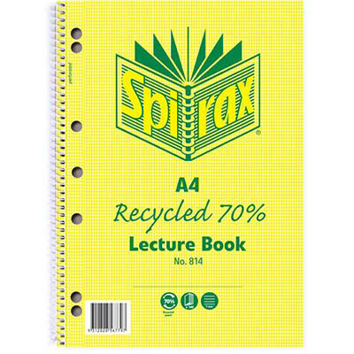 Image for SPIRAX 814 LECTURE BOOK 7MM RULED 7 HOLE PUNCHED 70% RECYCLED SPIRAL BOUND A4 140 PAGE from Axsel Office National