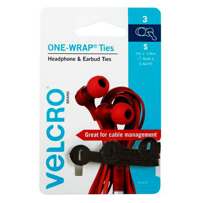 Image for VELCRO BRAND ONE-WRAP CABLE TIES HEADPHONE AND EARBUD 6 X 76MM BLACK PACK 3 from Office National Hobart